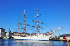 A tall ship in the harbour